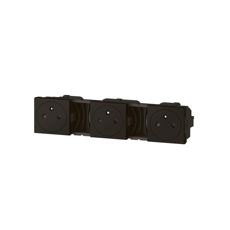 Triple prise de courant 2P+T Surface précâblées Mosaic 3x2 modules - noir mat