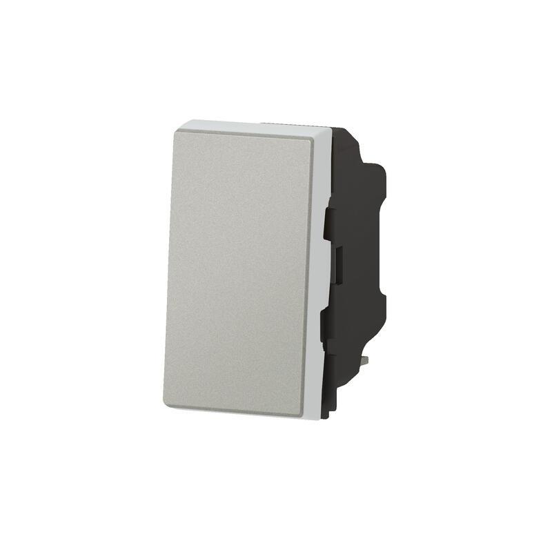 Interrupteur ou va-et-vient 10AX 250V~ Mosaic Easy-Led 1 module - alu