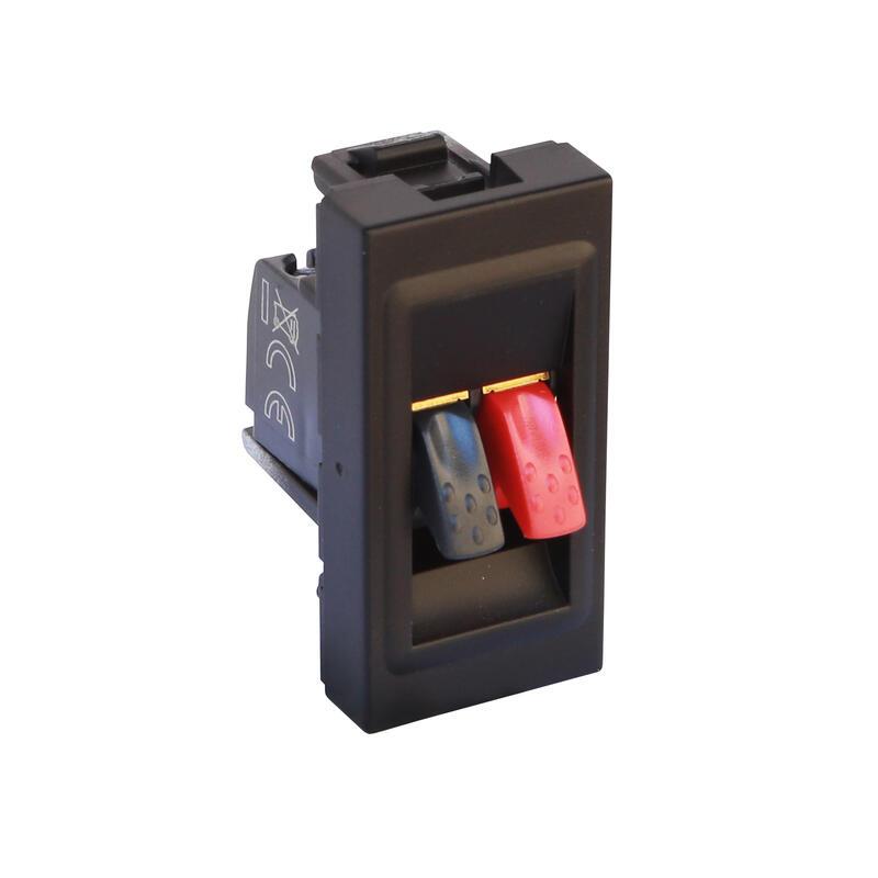 Prise haut-parleur Mosaic 1 module avec bornier 4mm² pour liaison audio stéréo de haut-parleur - noir mat