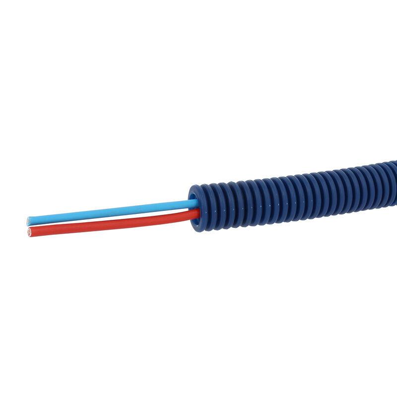 Conduit ICTA Chronofil® Ø16mm pour courant fort avec 2 conducteurs 1,5mm² bleu et rouge - RAL5010