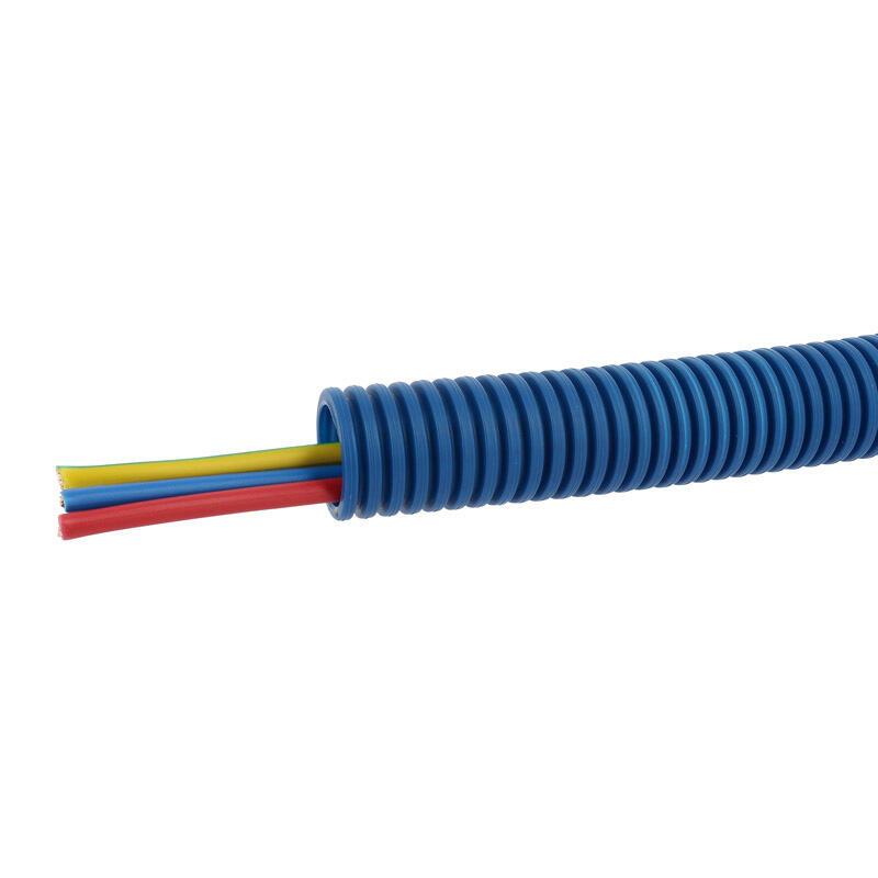 Conduit ICTA Chronofil® Ø25mm pour courant fort avec 3 conducteurs 6mm² bleu, rouge et vert et jaune - RAL5010