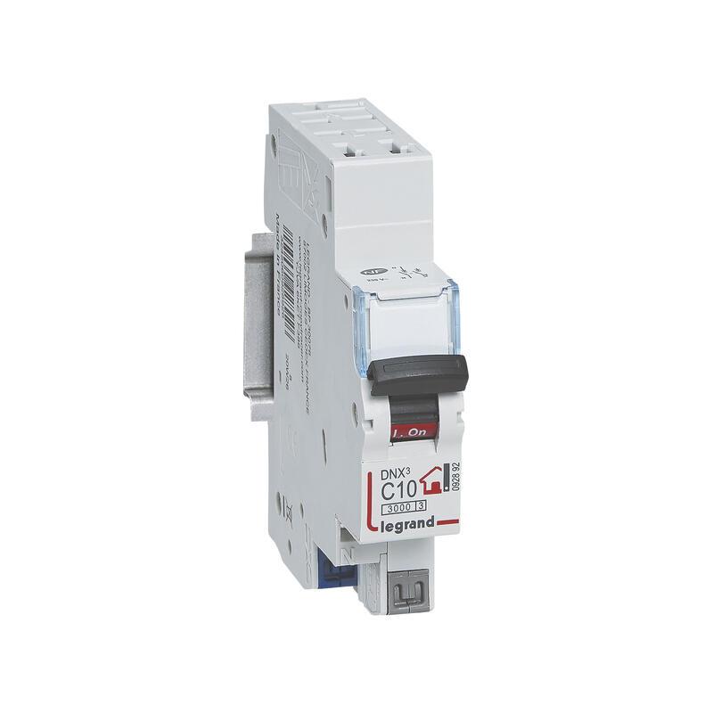 Disjoncteur Phase + Neutre - 10A - bornes automatiques - 1 module
