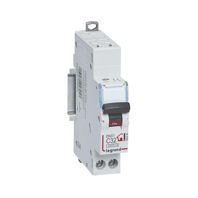 Disjoncteur Phase + Neutre - 32A - bornes automatiques - 1 module