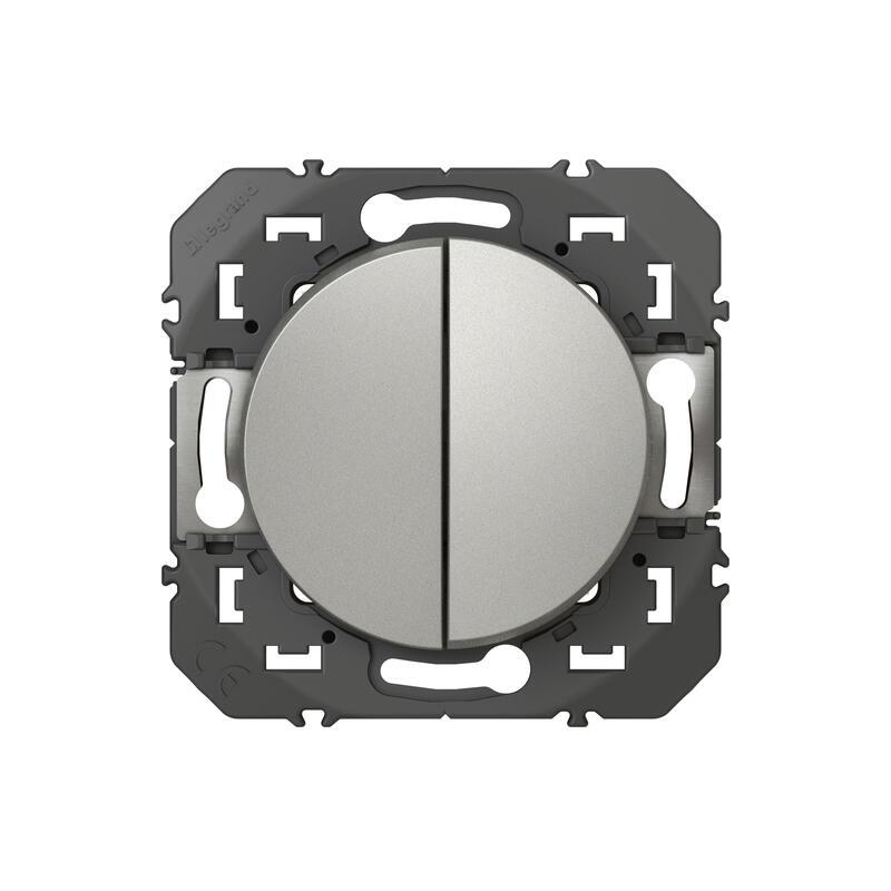 Poussoir double dooxie 6A 250V~ finition alu - emballage blister