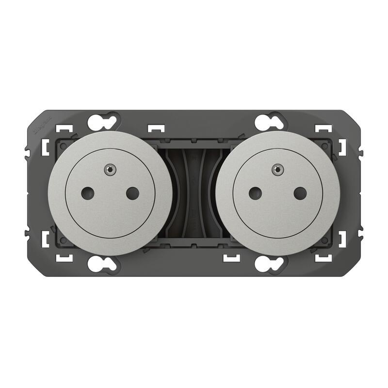 Double prise de courant 2P+T Surface dooxie 16A précâblées finition alu - emballage blister