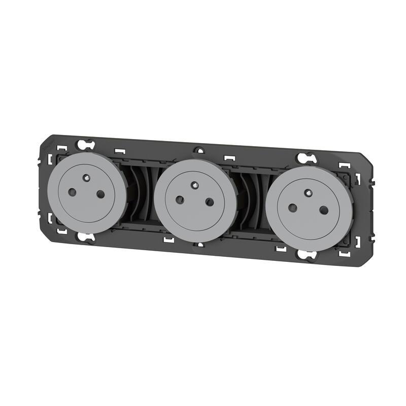 Triple prise de courant 2P+T Surface dooxie 16A précâblées finition alu - emballage blister