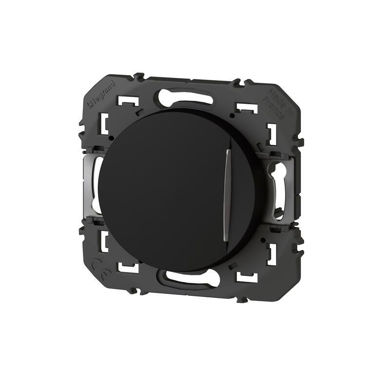 Poussoir simple avec voyant lumineux dooxie 6A 250V~ finition noir - emballage blister