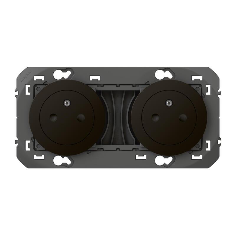 Double prise de courant 2P+T Surface dooxie 16A précâblées finition noir - emballage blister