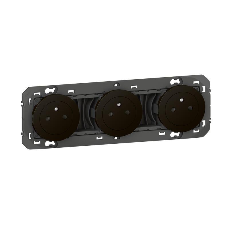 Triple prise de courant 2P+T Surface dooxie 16A précâblées finition noir - emballage blister