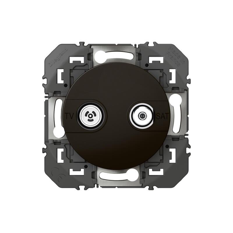 Prise TV-SAT étoile blindée dooxie finition noir - emballage blister