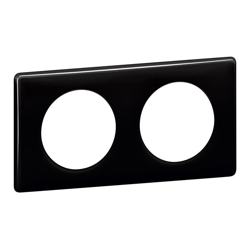 Plaque Céliane - Laqué Noir - 2 postes