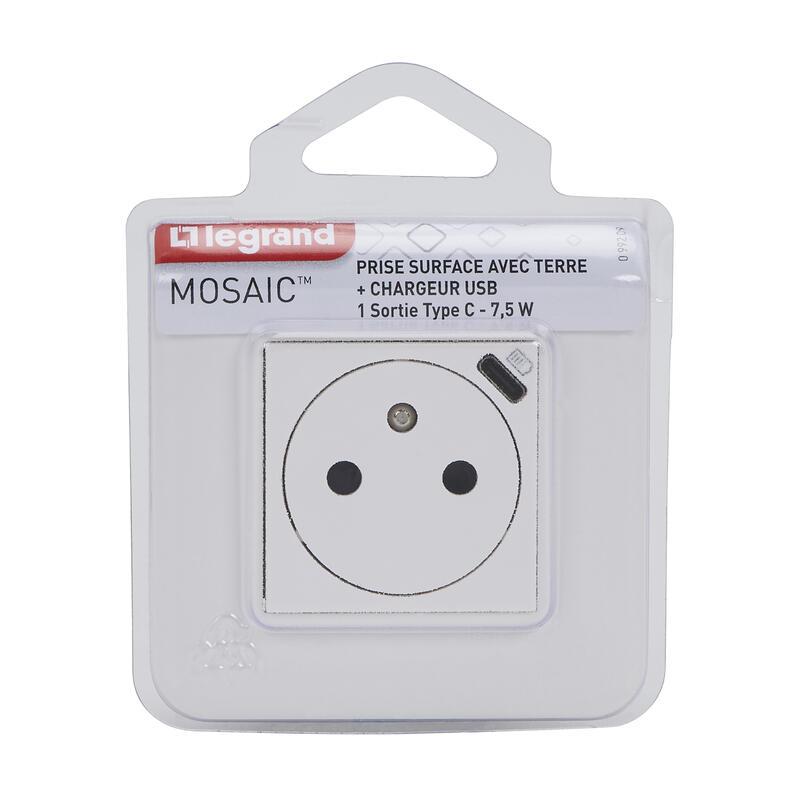 Prise de courant Surface Mosaic avec chargeur Type-C 2 modules - blanc