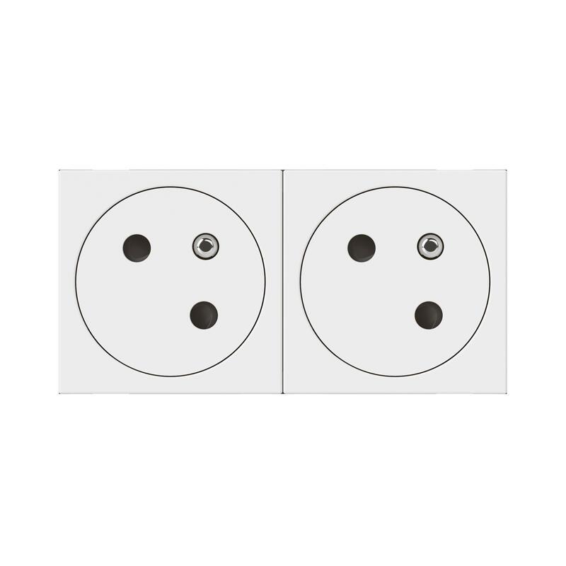 Double prise de courant Surface Mosaic Link à 45° précâblée - blanc