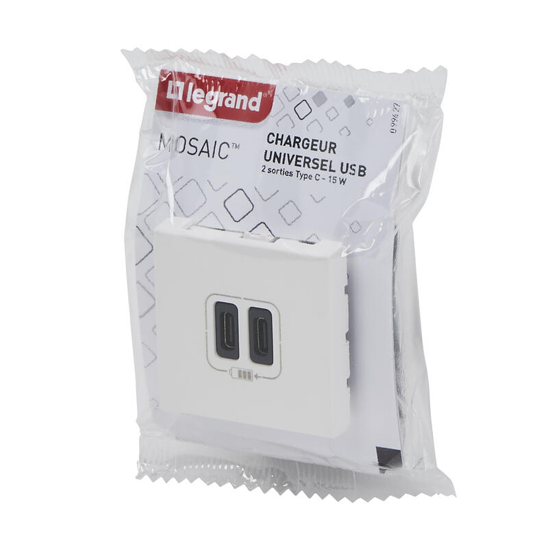 Double chargeur USB Type-C Mosaic 3A 2 modules - blanc