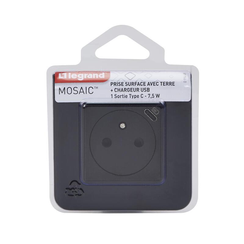 Prise de courant Surface Mosaic avec chargeur Type-C 2 modules - noir mat