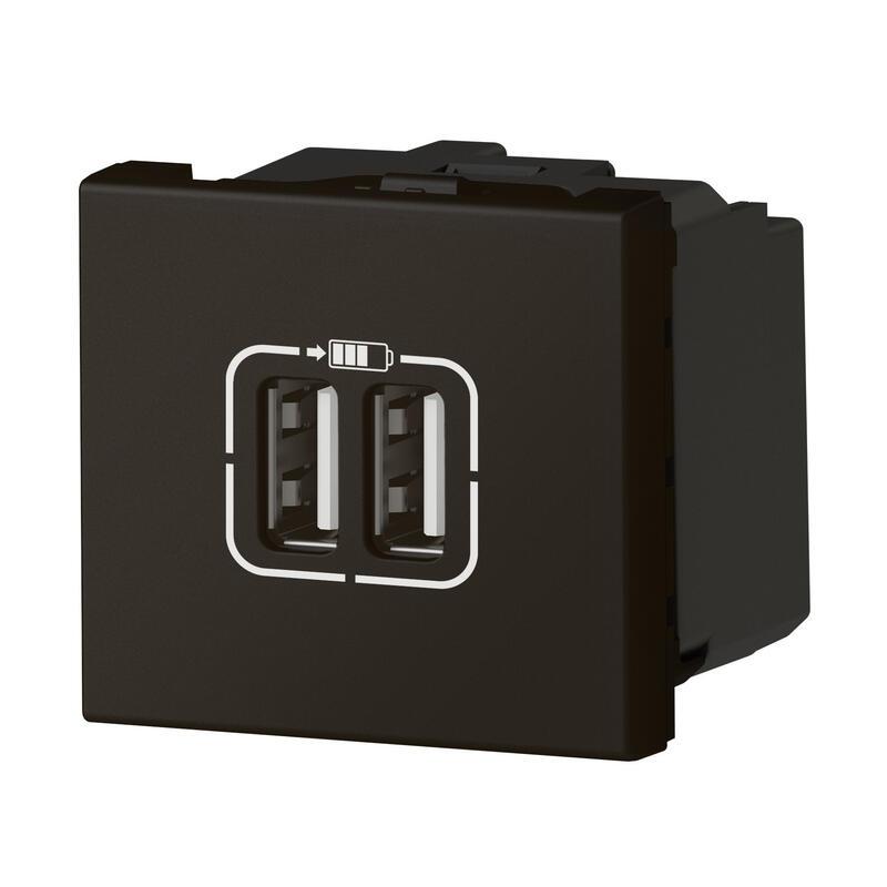 Double chargeur USB Type-A Mosaic 3A 2 modules - noir mat