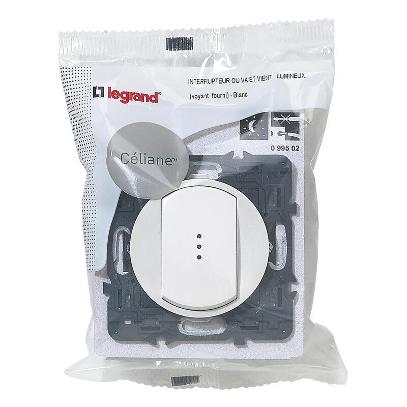 Interrupteur ou va-et vient lumineux (voyant fourni) Céliane Soft - 10A - Blanc