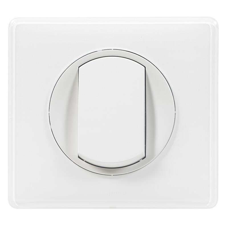 Poussoir avec plaque Céliane Soft - 6A - Blanc