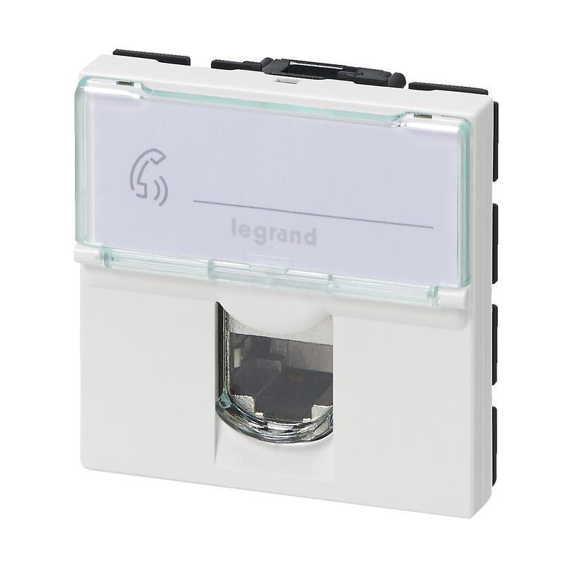 Prise RJ 45 multimédia Mosaic catégorie6 STP télévision , téléphone , informatique 2 modules - blanc