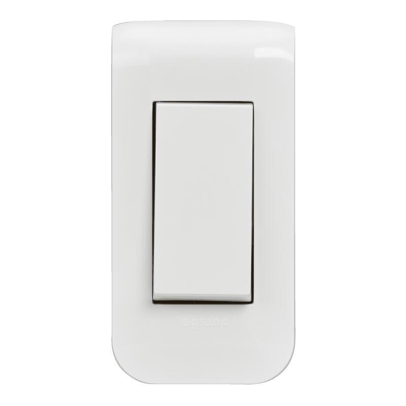 Interrupteur ou va-et-vient Mosaic 10A étroit complet avec plaque - boite à encastrer - blanc