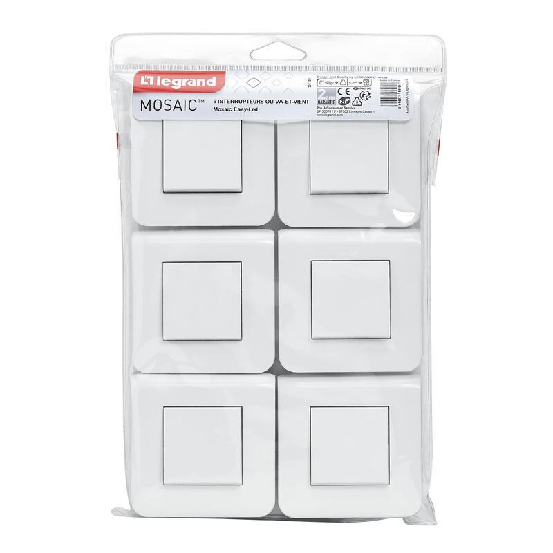 Lot de 6 interrupteurs simple ou va-et-vient Mosaic 10A blanc complet avec plaque et fixation à vis