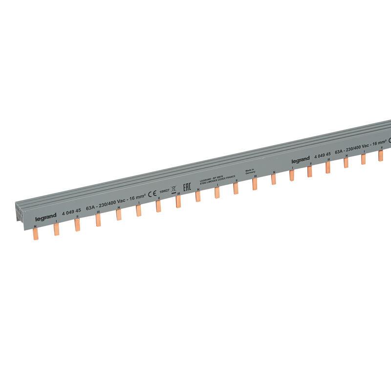 Peigne d'alimentation tétrapolaire HX³ traditionnel pour bornes à vis - longueur 56 modules maximum 14 appareils