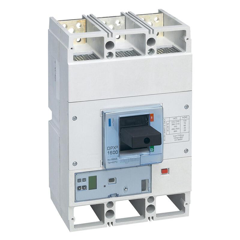 Disjoncteur électronique Sg avec unité de mesure DPX³1600 pouvoir de coupure 100kA 400V~ - 3P - 800A