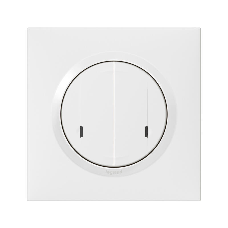 Interrupteur double sans fil pour installation connectée dooxie with Netatmo avec plaque blanche