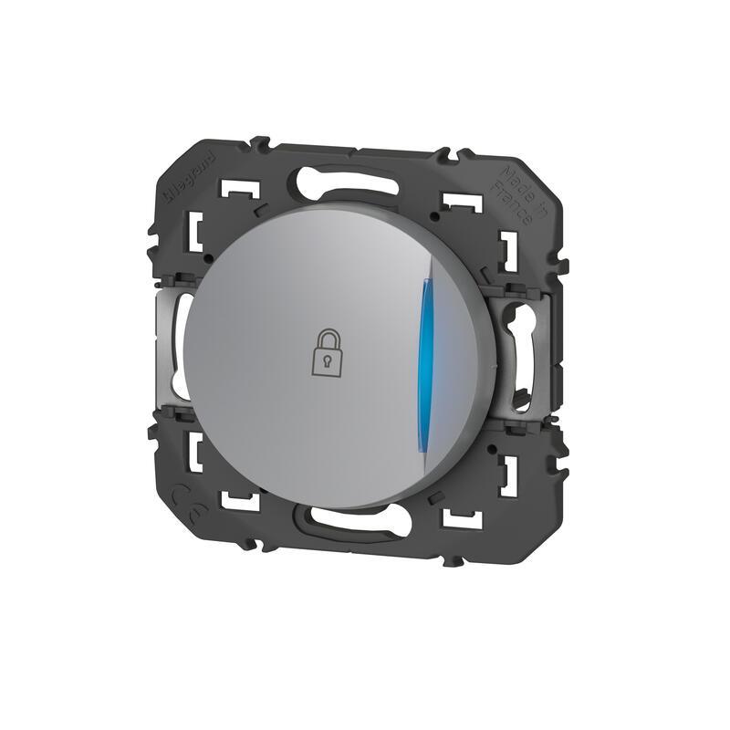 Poussoir simple avec voyant lumineux et marquage cadenas dooxie 6A 250V~ finition alu