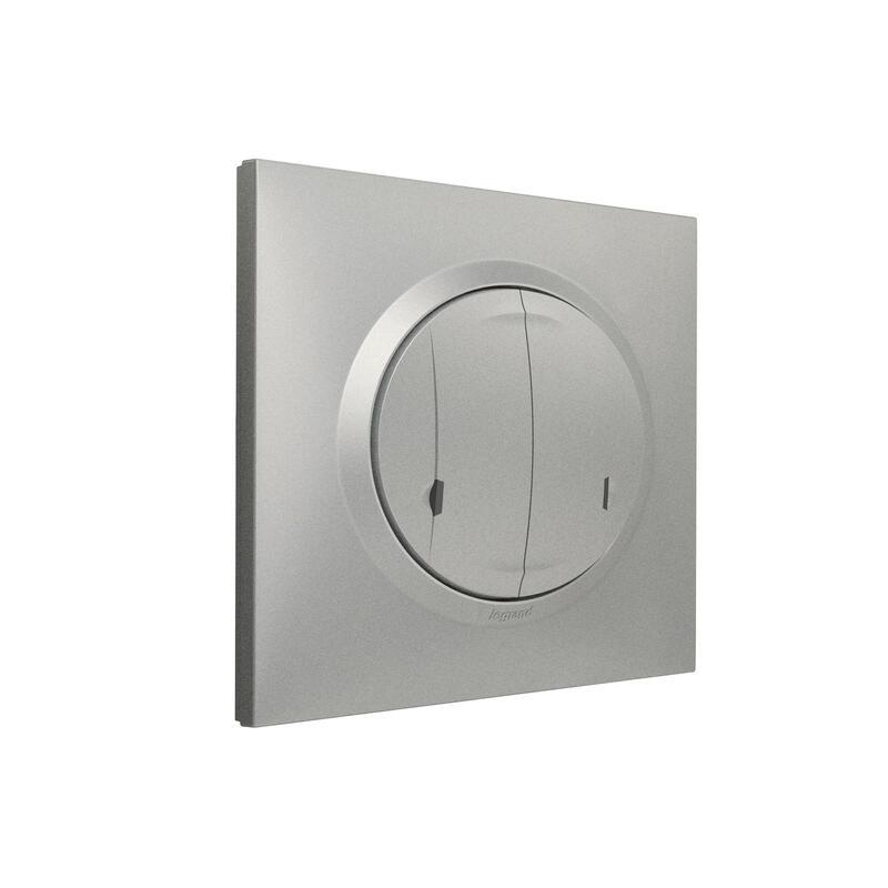 Interrupteur double sans fil pour installation connectée dooxie with Netatmo avec plaque effet aluminium