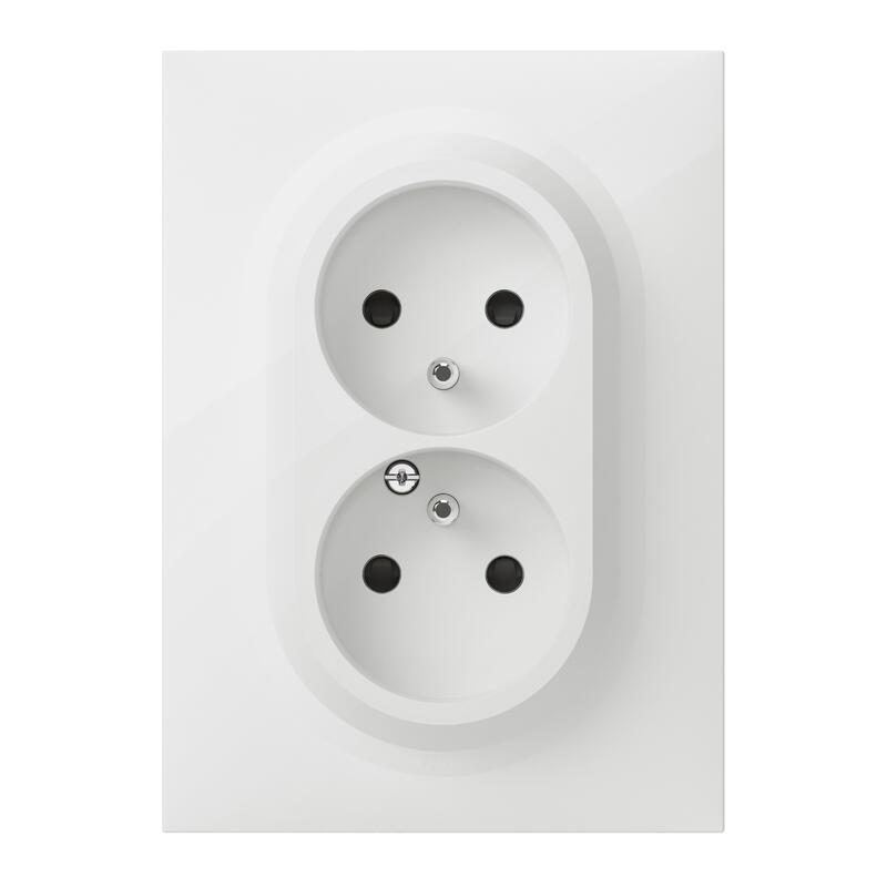 Double prise de courant compacte monobloc easyréno 2P+T dooxie 16A livrée avec plaque carrée blanche