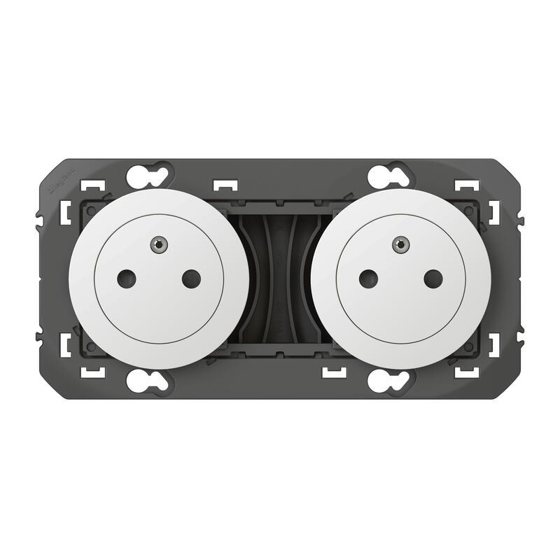 Double prise de courant 2P+T Surface dooxie 16A précâblées finition blanc