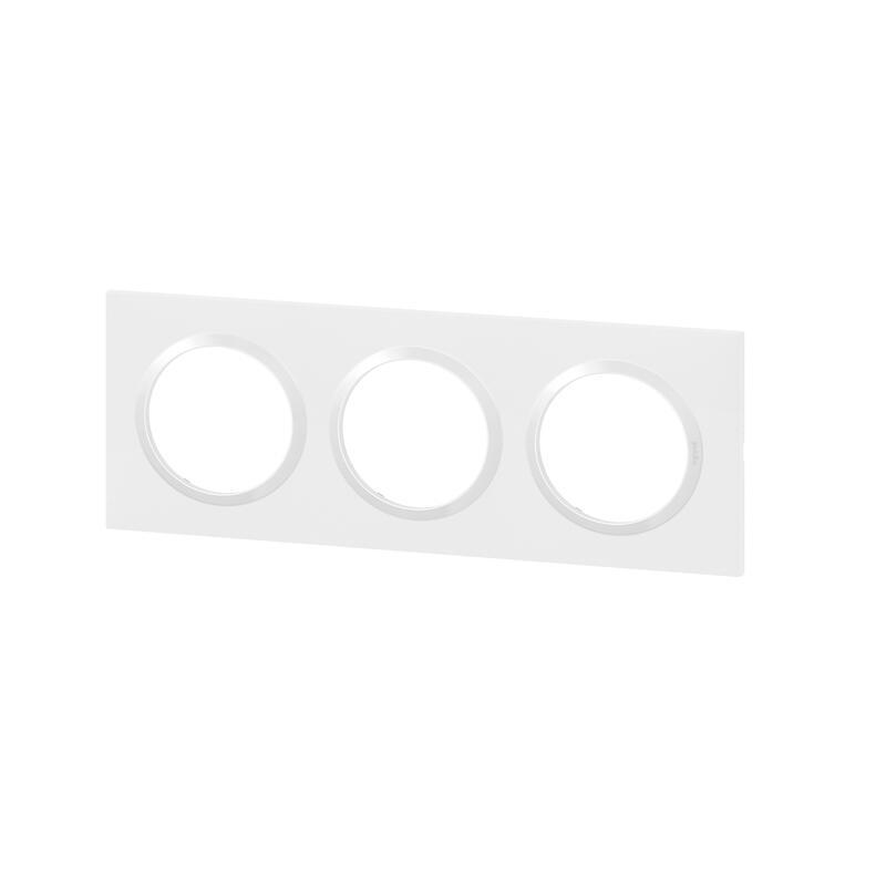 Plaque carrée dooxie 3 postes finition blanc