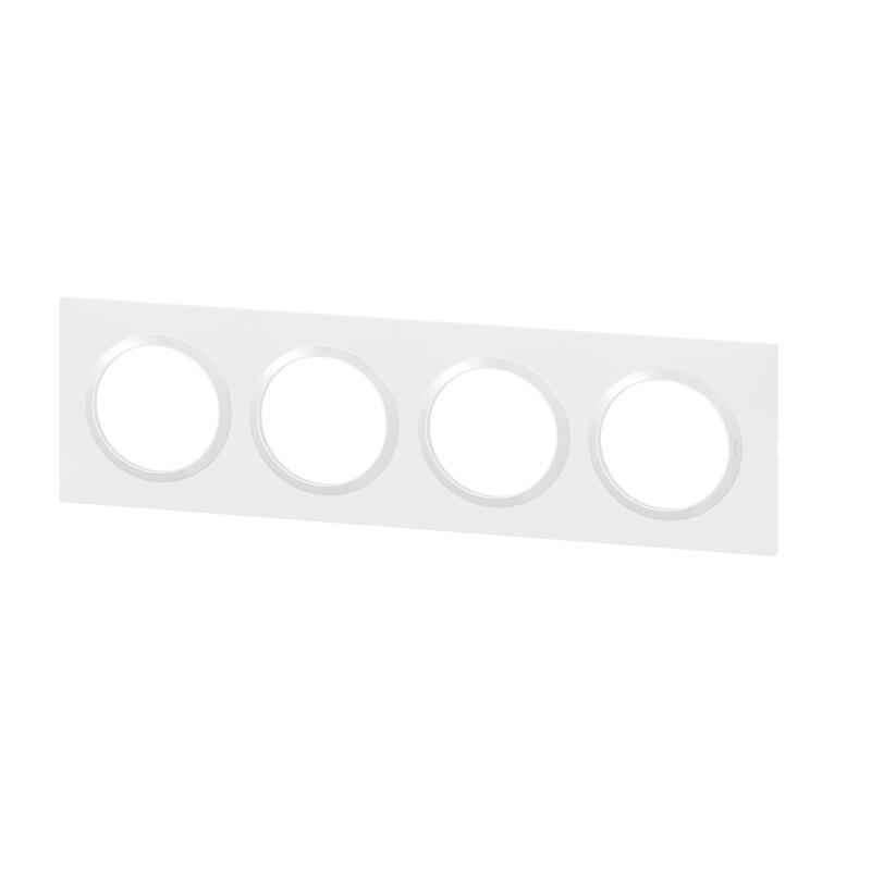 Plaque carrée dooxie 4 postes finition blanc