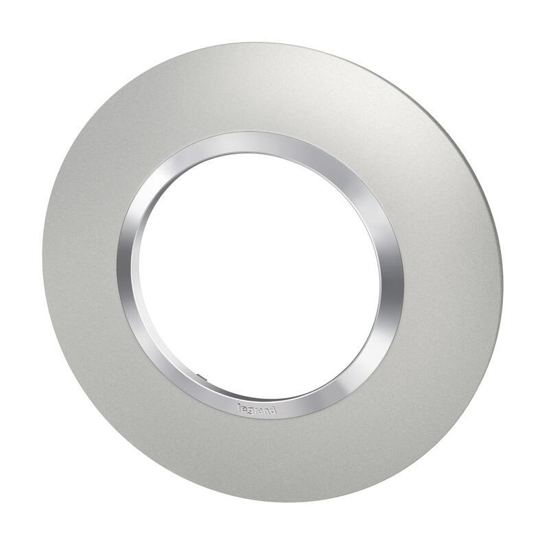 Plaque ronde dooxie 1 poste finition effet aluminium avec bague effet chrome