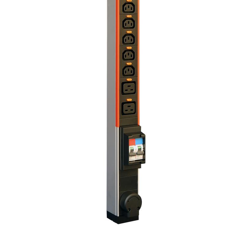 PDU standard monophasé Zéro-U LCS³ avec 20xC13 et 4xC19 verrouillables et raccordement par bornier jusqu'à 6mm²